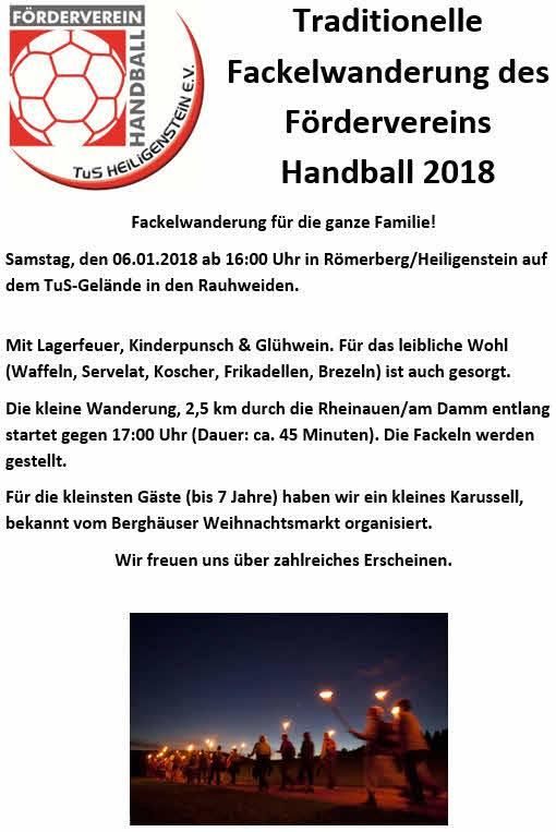 Einladung zur Fackelwanderung des Fördervereins am 06.01.18