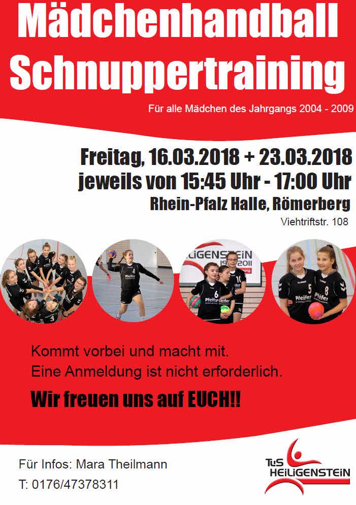 Schnuppertraining Mädchenhandball am 16. und 23. März